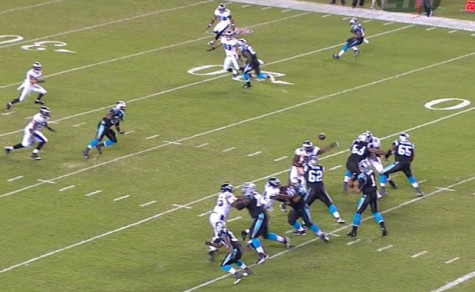 Bennie Logan swats down a Cam Newton pass