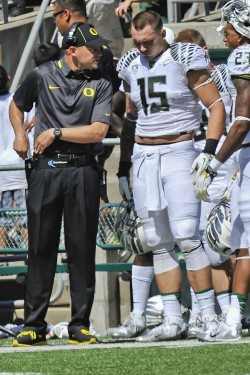 Coach Mark Helfrich becomes just the second Oregon head coach to win his debut since Jim Aiken in 1947