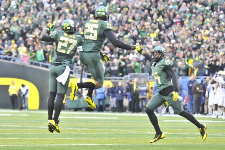 The Oregon defense will look to celebrate at home this Saturday.
