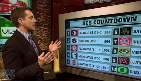 Florida State and Auburn were ranked #1 and #2 in the final week of the BCS standings
