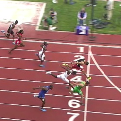 Allen (Lane 6) flies across the finish line in record time.