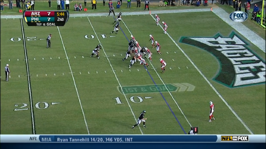 McCoy getting ready for a handoff or fake with Smith.