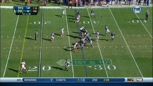 Johnson's footwork improves on this play.