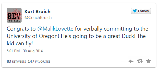 LOVETTE COMMITS TWEET