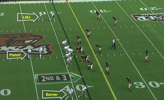 Josh Huff is the RB behind Darron Thomas.  Can you believe who we had flanked out?