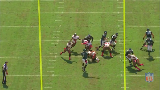 Kelce, left guard Evan Mathis, and right guard Todd Herremans release their defenders and get ready to form a wall down the field.