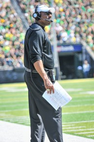 Defensive Coordinator Don Pellum prefers to coach from the sideline