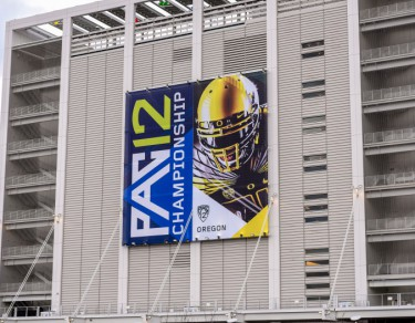 The Pac-12 Championship banner hangs from Levis Stadium