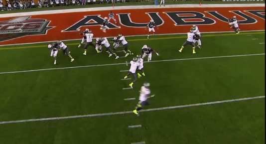 3rd and Goal. Thomas keeps when James had walk in touchdown