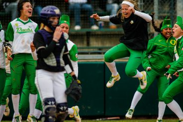 Celebration in order after a home run from the Ducks vs Washington.