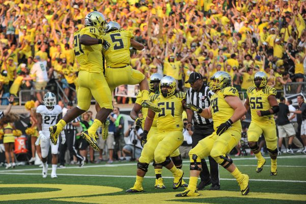 Devon Allen and Royce Freeman celebrating a touchdown
