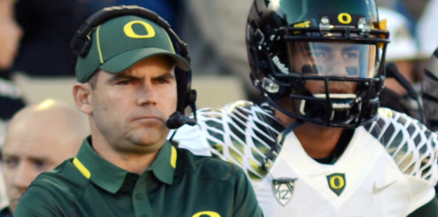 Mark Helfrich with Marcus Mariota at quarterback and Scott Frost as Offensive Coordinator continued Oregon's hurry-up offense.