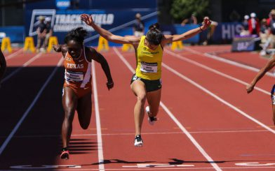 Prandini leans to victory in the 100 meters.