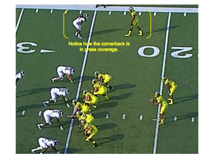 Notice how the cornerback is aligned very tight to Stanford.