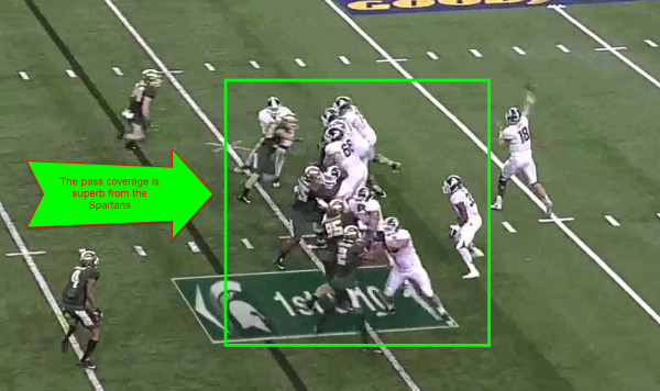 The Spartans line gives Cook a ton of time to throw.