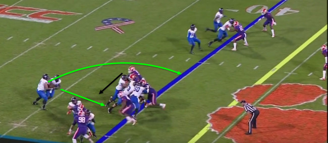 Reading the right end, the Panther's quarterback decides to pull it.