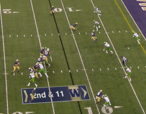 A crucial moment for the QB to decide where to throw