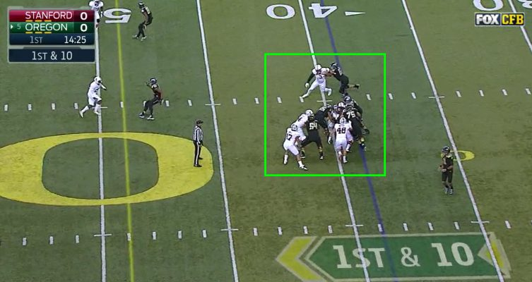 The running back has nowhere to go and swallowed up by the defense.