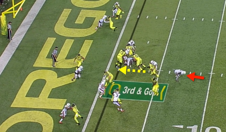 The backside Blitzer finishes the play....